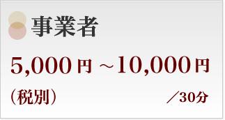 事業者5000円〜10000円(税別)/30分